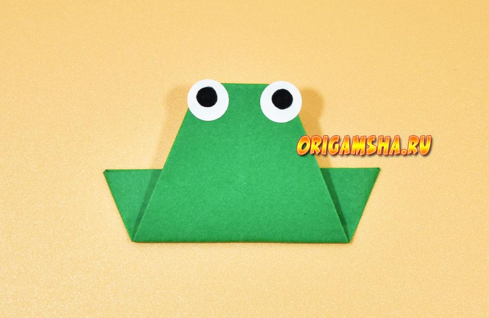 Простая оригами лягушка